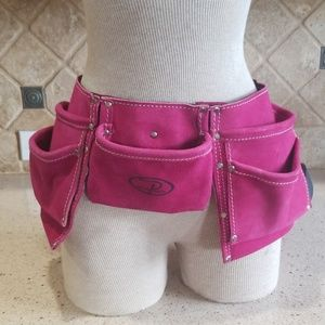 Suede Pink leather tool belt